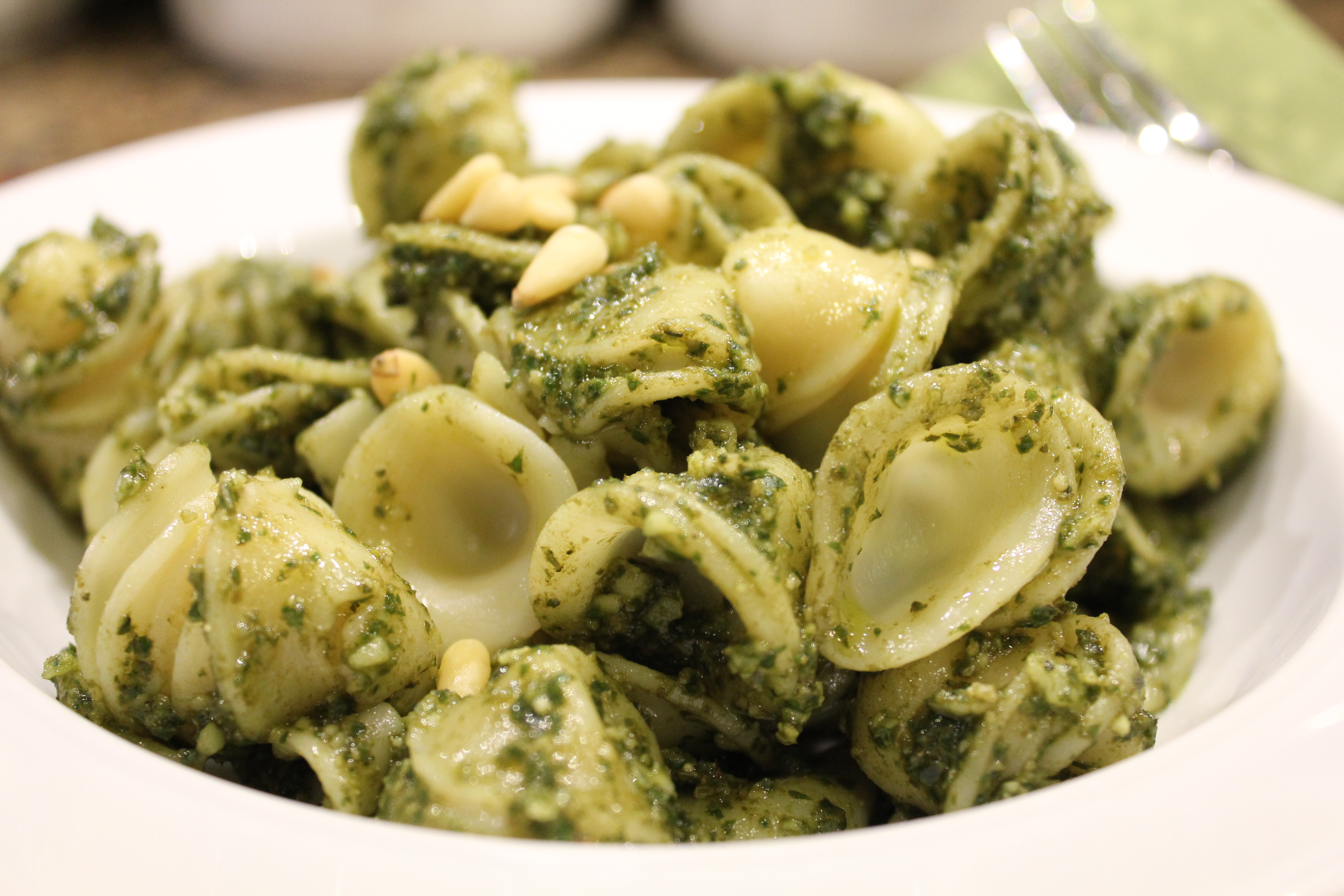 orecchiette pasta with pesto hip foodie mom